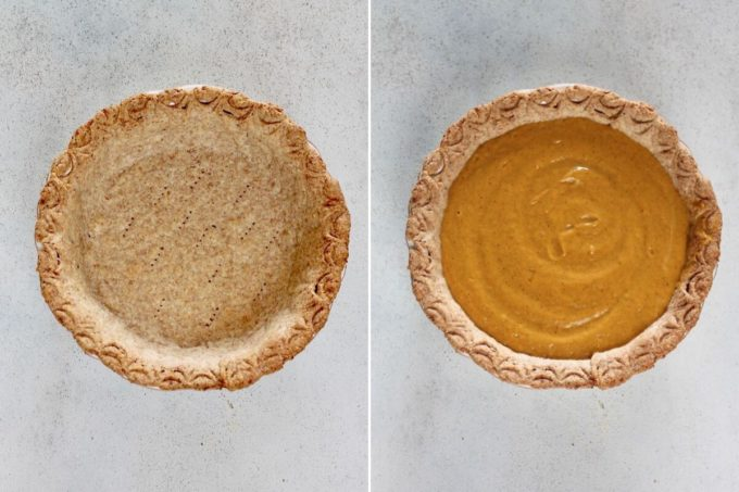 photo collage of blind baked pie crust filled with pumpkin pie filling