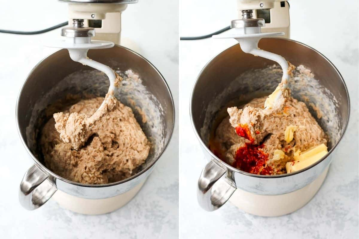 photo collage with spelt flour dough being mixed in a kitchen aid mixer, with butter and saffron added in the second photo