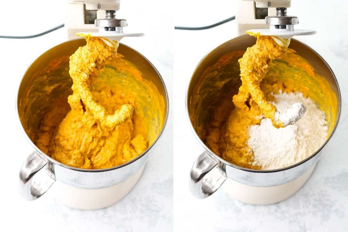 photo collage with dough for saffron buns being mixed in a kitchen aid mixer