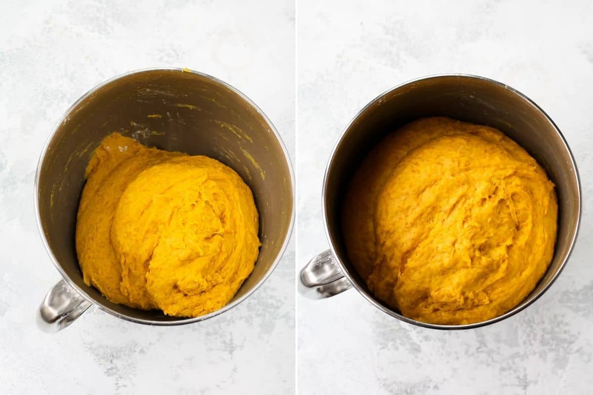 Photo collage with saffron dough rising in a metal mixing bowl. Unrisen on the left, and risen on the right.