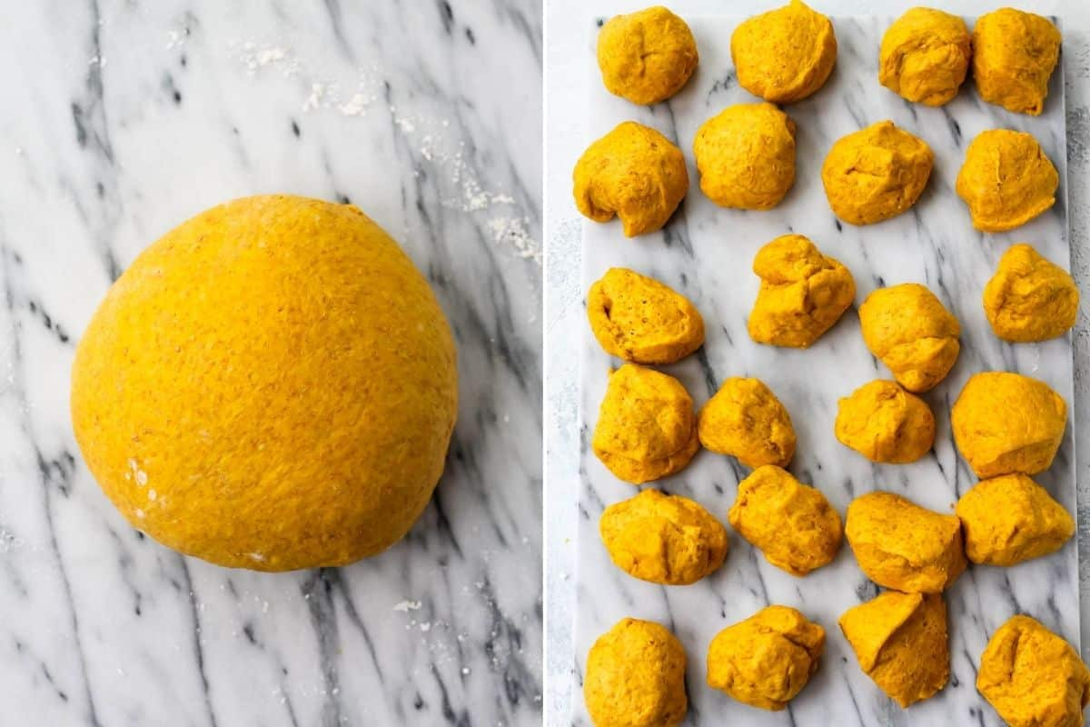 photo collage with a large ball of saffron dough on the left, and 24 smaller balls on the right