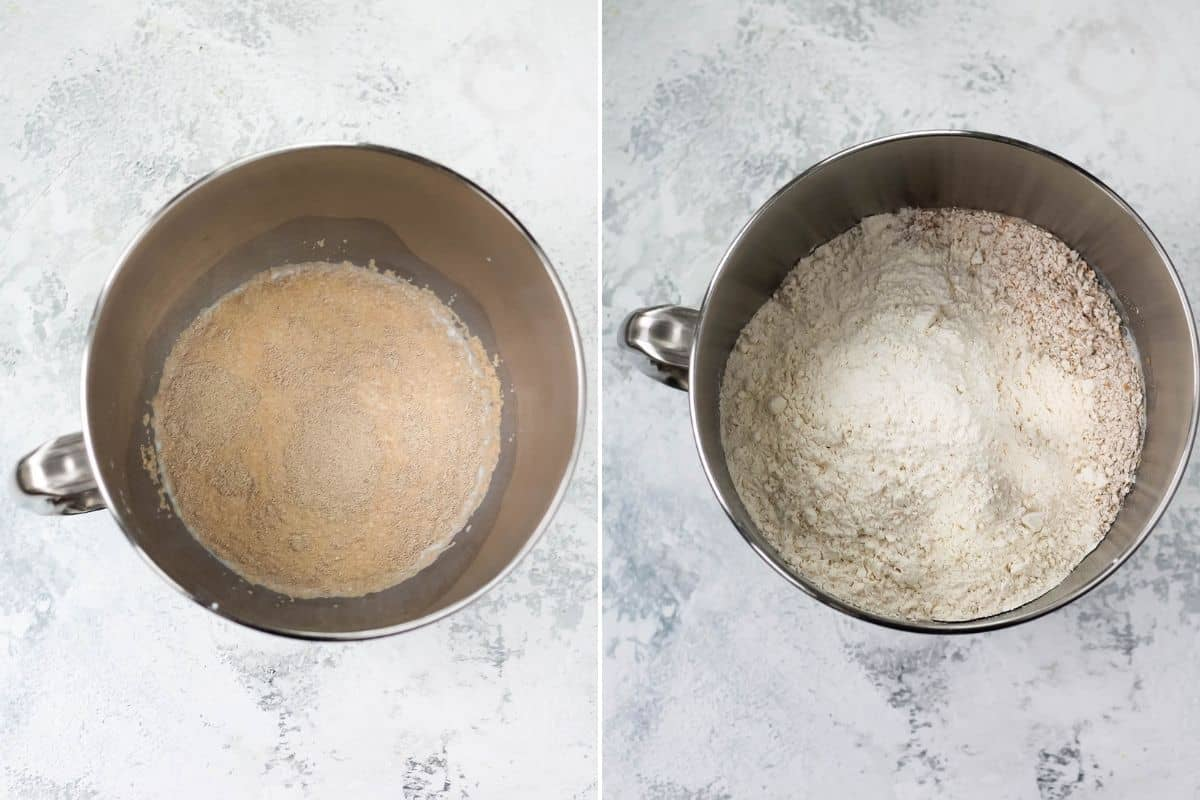 photo collage with yeast and milk in a bowl, together with flour and sugar in the second photo