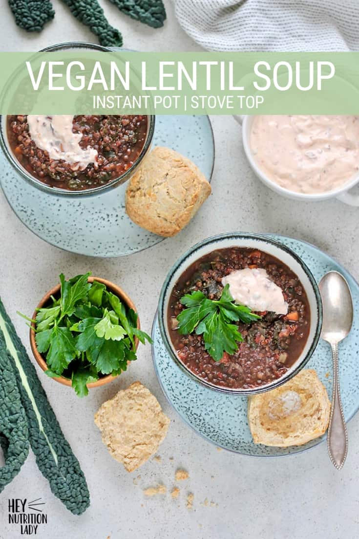 This healthy Vegan Lentil Soup Recipe can be made in the Instant Pot or on the stove top. Made with black beluga lentils, loads of vegetables, and plenty of kale or spinach, it's the best way to fill up on a cold night. #veganlentilsoup #instantpotlentilsoup