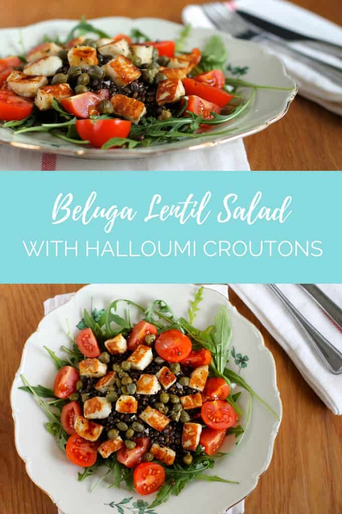This quick, easy, impressive beluga lentil salad is made with salty, chewy halloumi croutons to take it to the next level // www.heynutritionlady.com #salad #vegetarian #halloumi #cheese #lentils