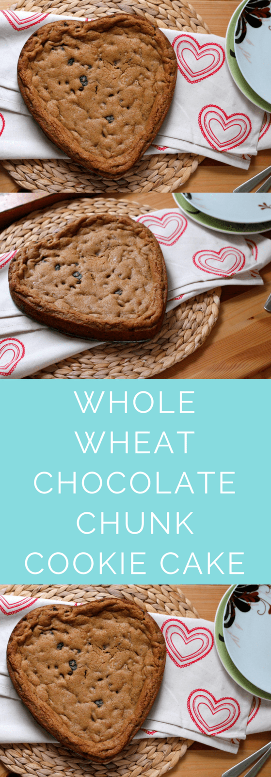 Everyone's favourite whole wheat chocolate chip cookie recipe - in cake form! Fancied up with dried cherries, dark chocolate, walnuts, and smoked salt, this cookie cake is next level delish! #cookie #wholewheat #cookiecake #chocolate #valentinesday