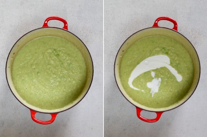 collage photo of blended cauliflower and pea soup