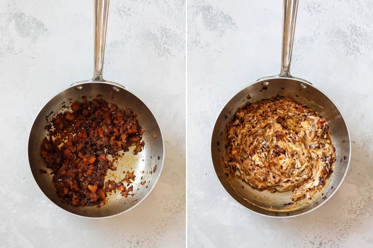 photo collage of yogurt curry mixture in a stainless steel pot