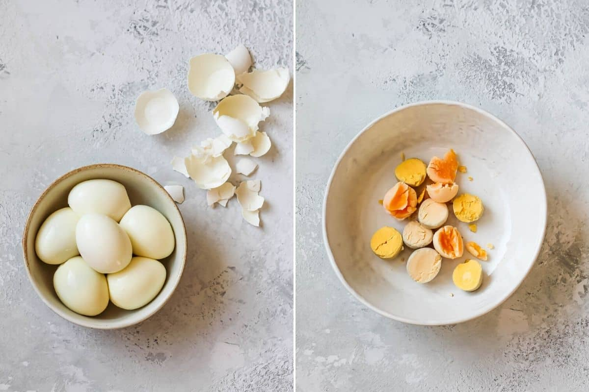 photo collage with hard boiled eggs and yolks removed