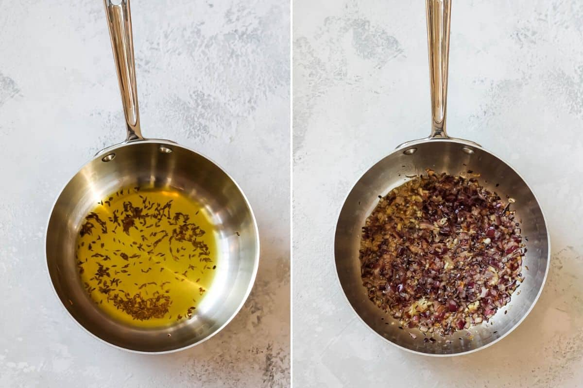 photo collage of oil and spices in a pan