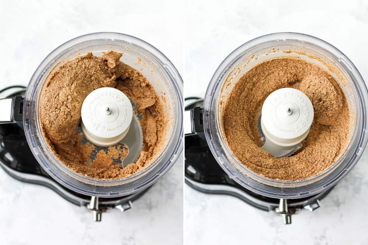 photo collage with almond butter being made in a food processor