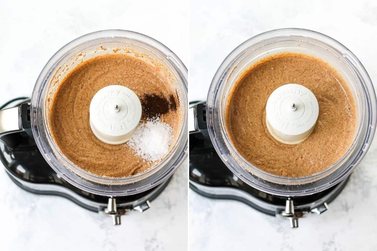 photo collage with vanilla and sea salt being added to homemade almond butter in a food processor