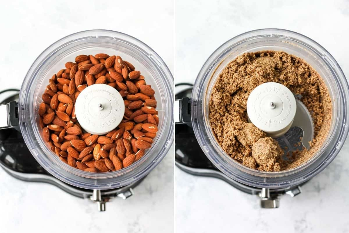 photo collage with whole almonds in a food processor on the left, and ground almonds on the right
