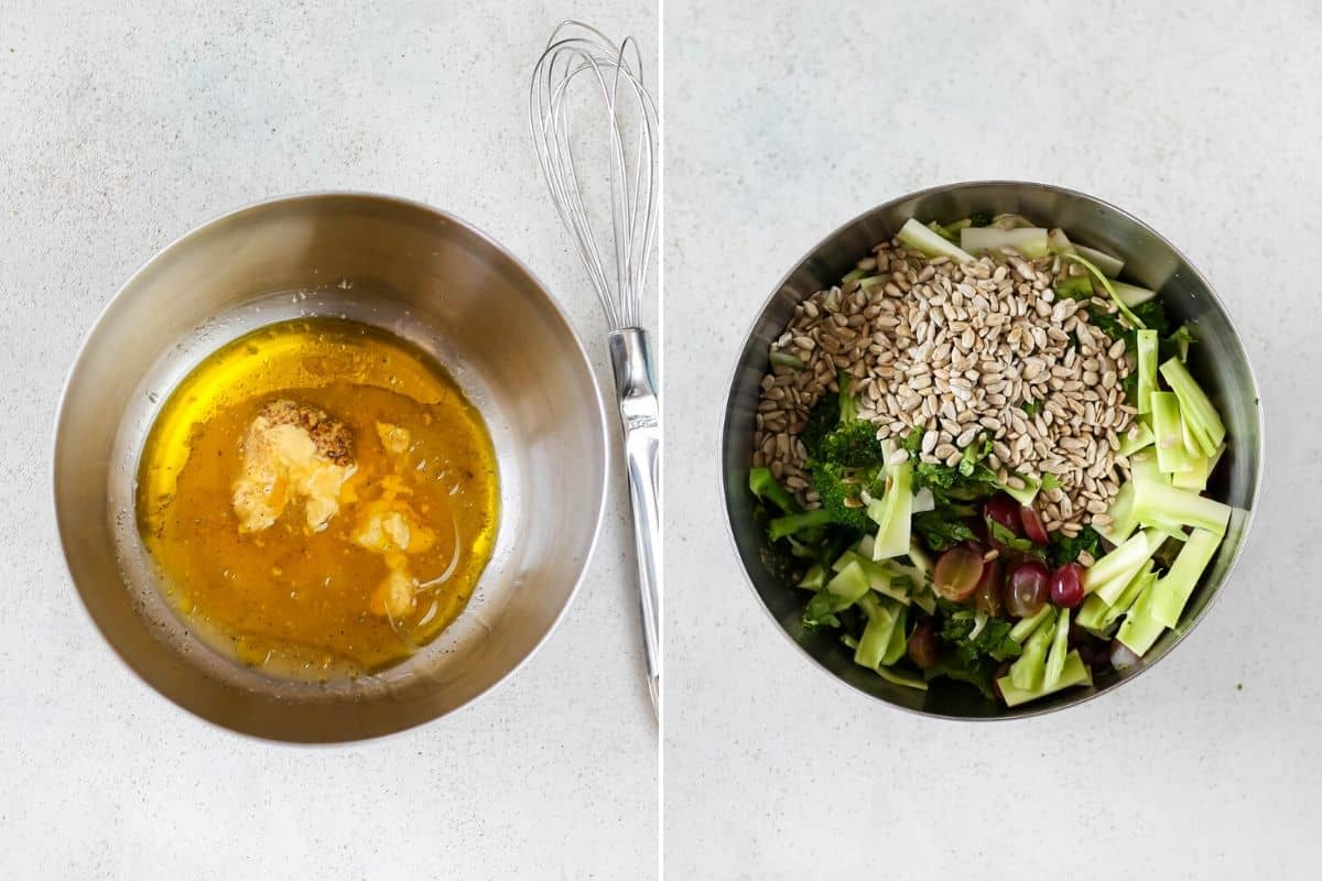 photo collage with honey dijon dressing and broccoli salad in a metal bowl