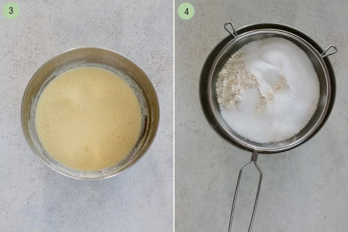 photo collage of mixed wet ingredients in a metal bowl and a sifter with flour