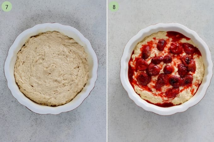 photo collage of cake batter in a white dish topped with roasted strawberries