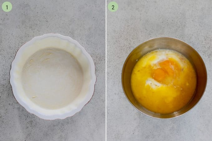 photo collage of a buttered pie plate and wet ingredients in a metal bowl