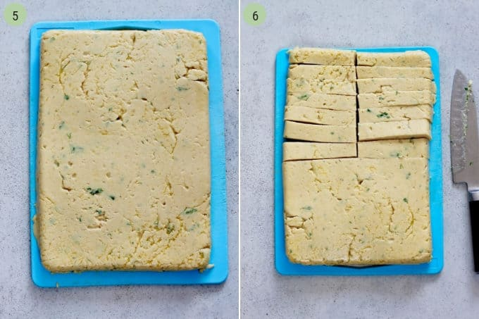 photo collage of chickpea panisse being sliced into chickpea fries