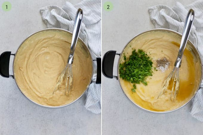 photo collage of chickpea flour being stirred in a metal pot