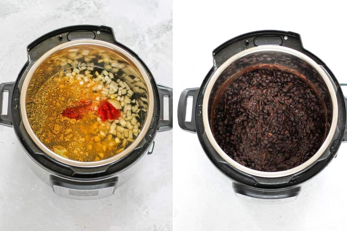 photo collage with black beans cooking in an instant pot