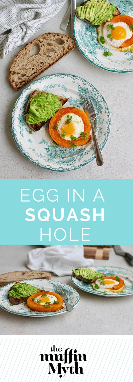 Egg In A Squash Hole! Eggs are baked into rings of squash for a fun, delicious, and healthy breakfast the whole family will love.  #eggs #glutenfree #vegetarian #breakfast