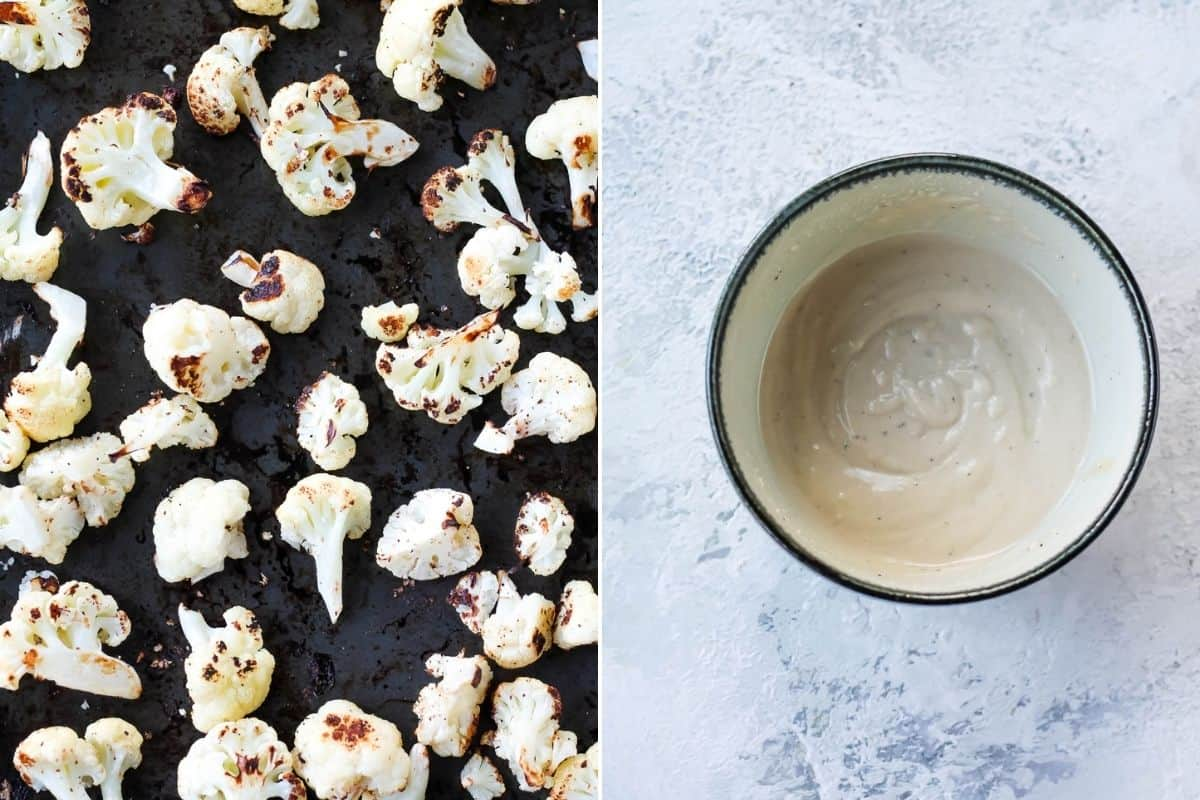 photo collage with a tray of roasted cauliflower on the right and a bowl of tahini sauce on the right