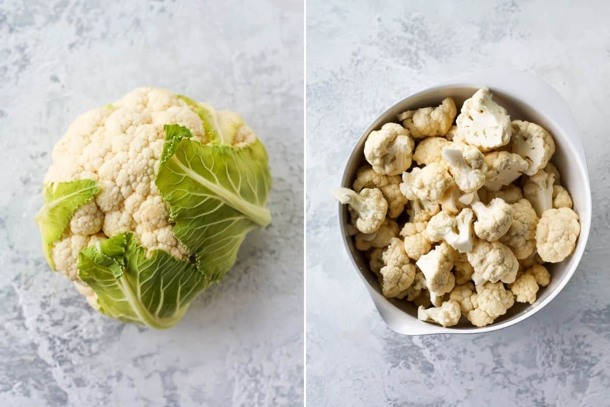 photo collage with a whole cauliflower on the left and a bowl of cauliflower florets on the right