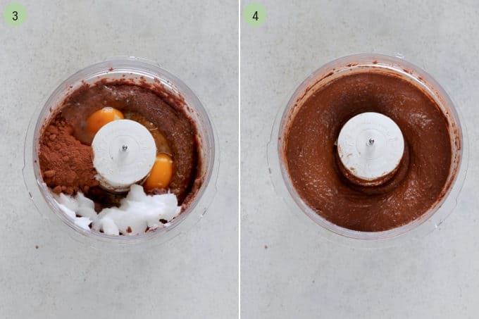 how to make a healthy brownie recipe photo collage of bean brownies being made in a food processor