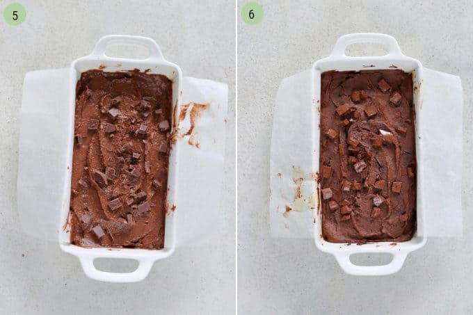 photo collage of a healthy brownie recipe both unbaked and baked in a white rectangular dish