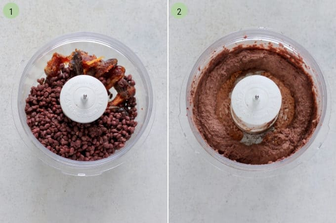 photo collage of a healthy brownie recipe being made in a food processor