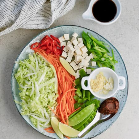 shredded cabbage, carrot, scallions, snow peas, tofu, ginger, and miso on a blue plate