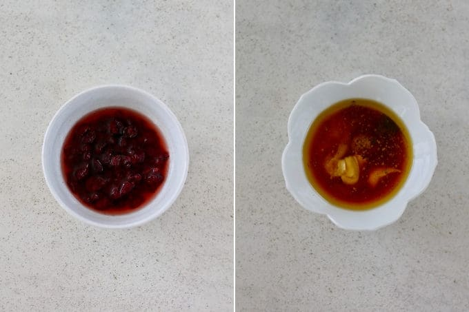 photo collage of cranberries being soaked in vinegar and salad dressing in a white bowl