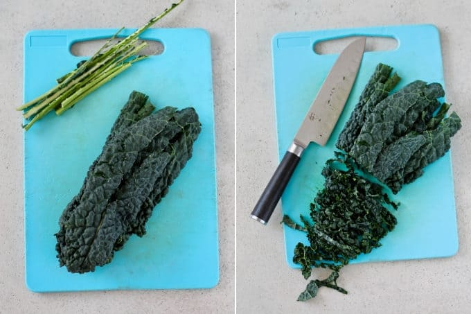 photo collage of de-stemming and slicing tuscan kale on a blue cutting board