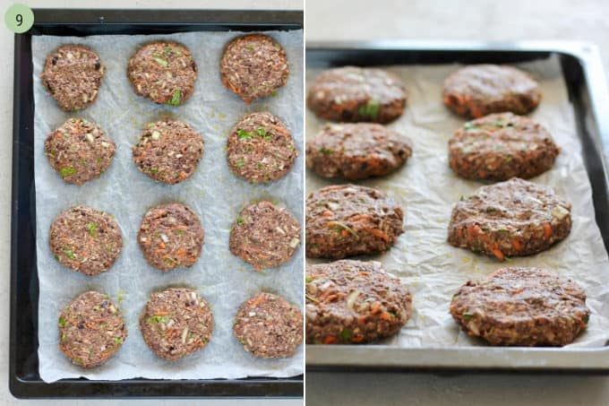 chipotle black bean burgers on a parchment lined tray