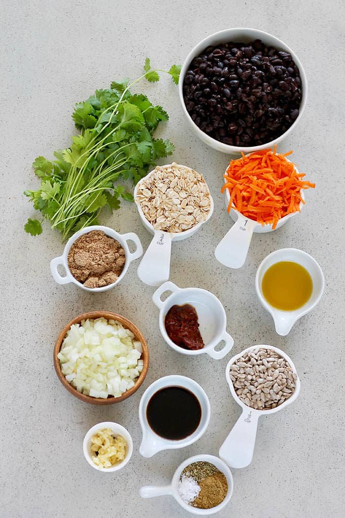 black beans, cilantro, oats, carrot, onion, flax seeds, sunflower seeds, spices, and chipotle pepper on a grey background