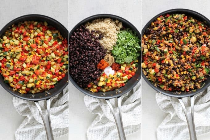 process photo of making black bean burrito filling