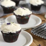 chocolate and olive oil zucchini cupcakes with salted honey mascarpone