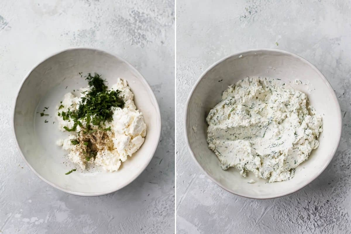 photo collage of herbs being stirred into ricotta in a white bowl