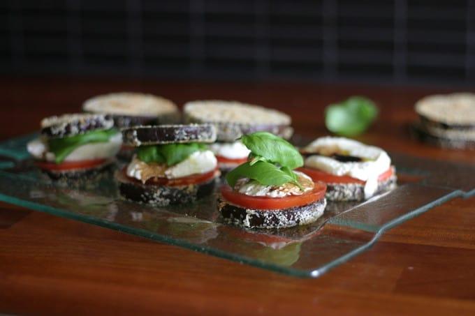 baked eggplant parmesan caprese sandwiches