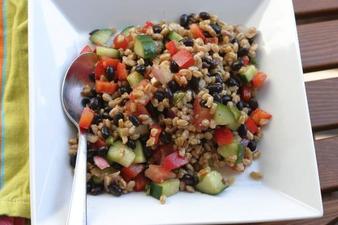 black bean salad with spelt berries