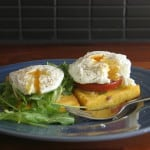 poached eggs on crispy polenta