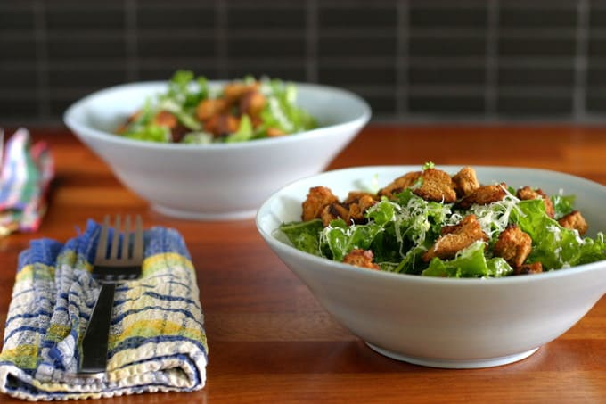 garlicky kale salad with mustard croutons