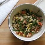 barley salad with charred corn and tomatoes