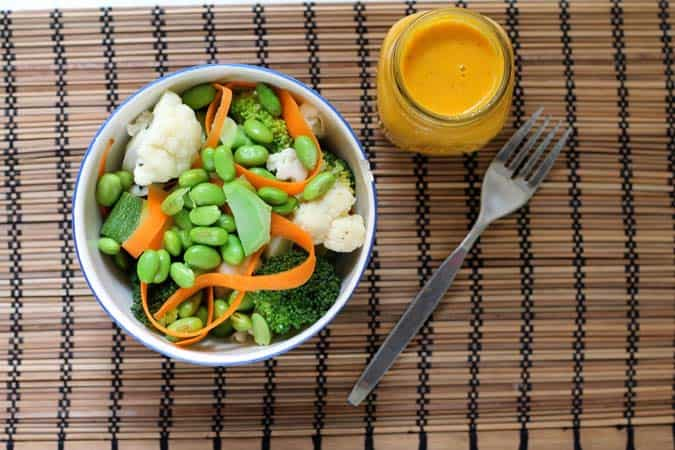 sunshine sauce with steamed edamame and veg // the muffin myth