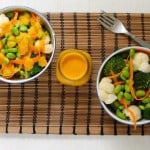 orange-carrot-miso-ginger sunshine sauce with steamed edamame and veg