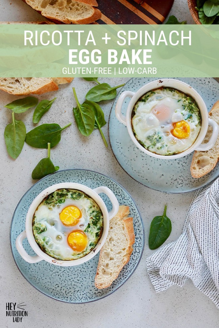 Ricotta and Spinach Egg Bake is an easy, protein-packed meal that's perfect for breakfast or dinner. Baked in individual ramekins, this healthy vegetarian dish goes from oven to table in just 15 minutes.#bakedeggs #vegetarian