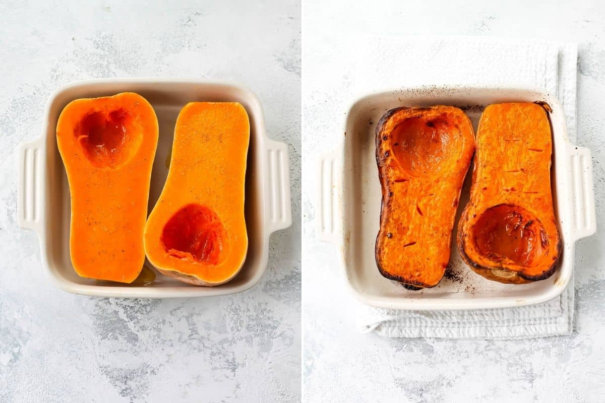 photo collage of roasted and unroasted butternut squash in a white casserole dish