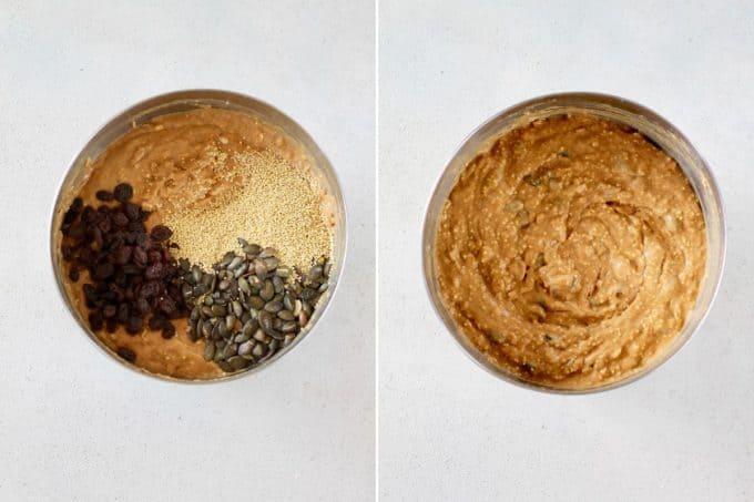pumpkin seeds, millet, and raisins being mixed into healthy pumpkin muffins