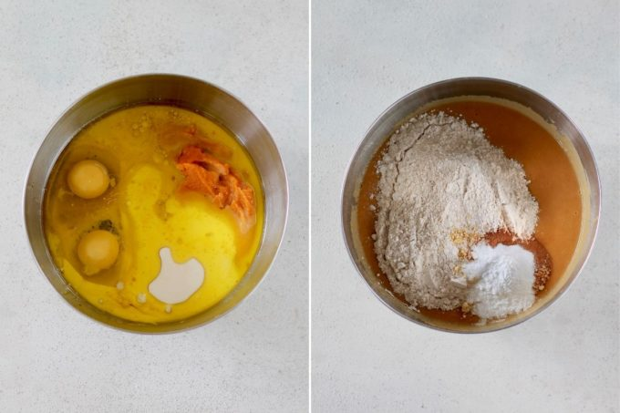 photo collage of healthy pumpkin muffins being made in a metal bowl