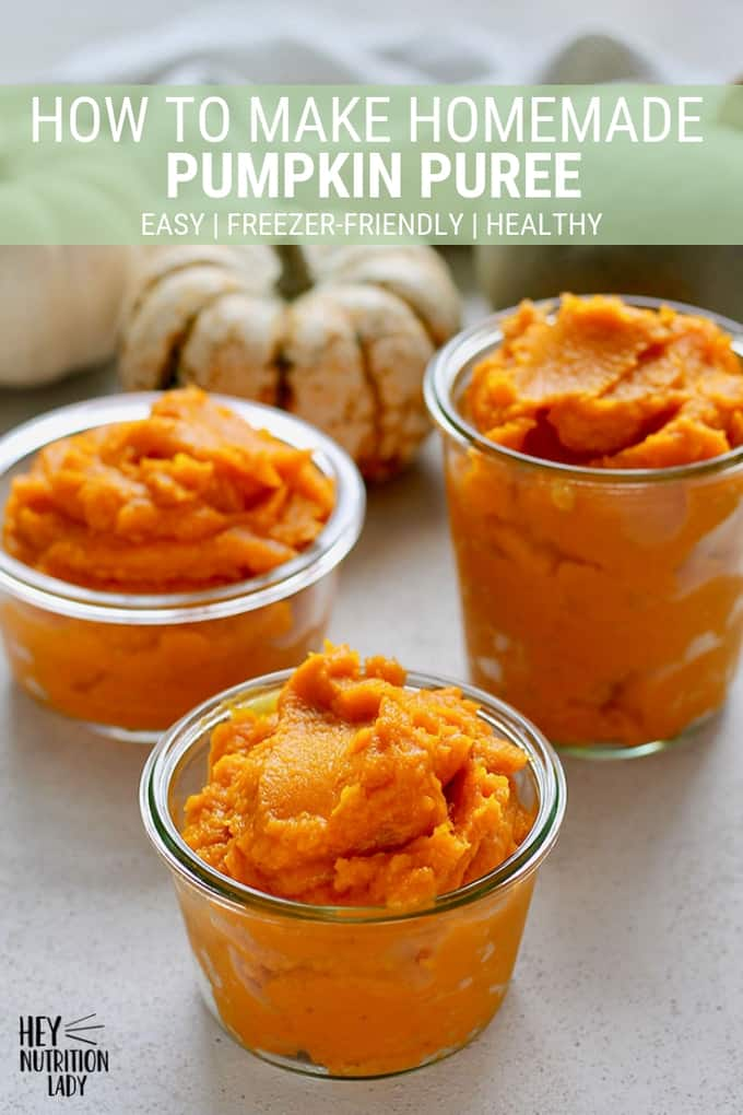 How to make homemade pumpkin puree! It's easy and inexpensive to make and freeze your own pumpkin puree! With these simple step by step instructions you'll have a stash of pumpkin in your freezer to use in soups, cakes, pies, muffins, and more! #pumpkin #puree #homemadepumpkinpuree #homemade #diy #easy #healthy #freezer #heynutritionlady