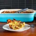 sweet potato strata with smoked gouda and leeks